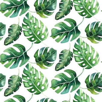 Nahtloses aquarellmuster der tropischen blätter, dichter dschungel. handbemaltes palmblatt. texturen mit tropischer sommerzeit können als hintergrund-, geschenkpapier-, textil- oder tapetendesign verwendet werden.