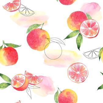 Nahtloses aquarellmuster, grapefruit- und aquarellflecken
