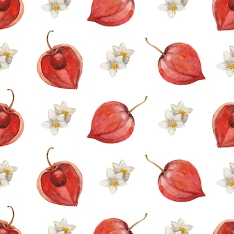 Nahtloses aquarellmuster mit früchten und blumen von physalis