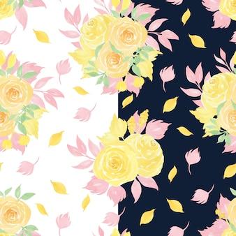 Nahtloses aquarellmuster mit gelben rosen