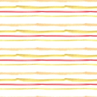 Nahtloses aquarellmuster mit gelben und roten streifen