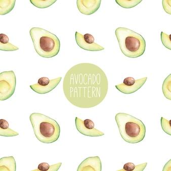 Nahtloses aquarellmuster mit gezeichneter illustration der avocado-hand