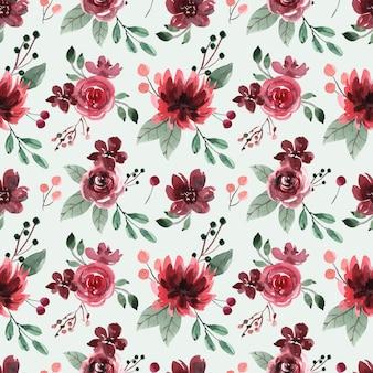 Nahtloses aquarellmuster mit roten kastanienbraunen pfingstrosen und rosen