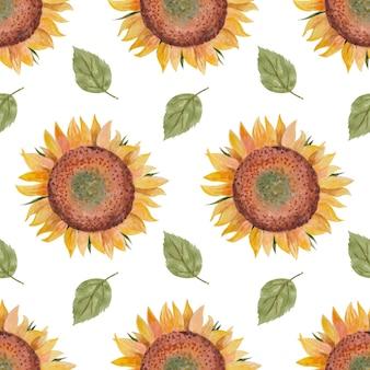 Nahtloses aquarellmuster mit sonnenblumenblättern und -blumen