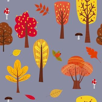 Nahtloses baummuster-waldwaldland mit blättern und pilzen