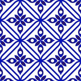 Nahtloses blaues mit blumenmuster