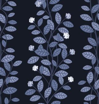 Nahtloses blumenmuster auf blauer hintergrundvektorillustration
