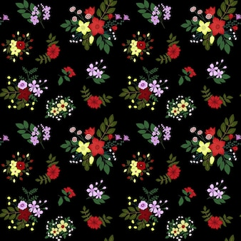 Nahtloses blumenmuster auf dunklem hintergrund nahtlose florale patector-textur für modedrucke