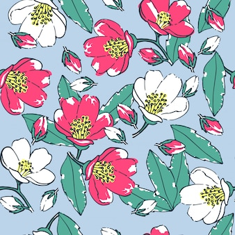 Nahtloses blumenmuster auf einem blauen hintergrund. handgezeichnete blüten und blätter