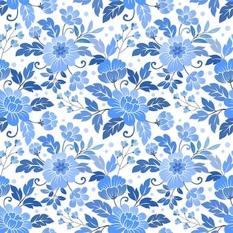 Nahtloses blumenmuster auf textil-tapete des blauen monochromen hintergrundgewebes.