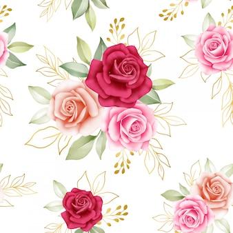 Nahtloses blumenmuster aus rosen und goldenen blättern
