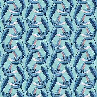 Nahtloses blumenmuster. blaue stängel, blumen und blätter lokalisiert auf eisblauem hintergrund.