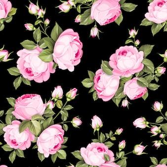 Nahtloses blumenmuster. blühende rosen auf schwarzem hintergrund.