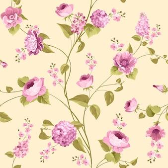 Nahtloses blumenmuster. blühende rosen und flieder auf rosa hintergrund.