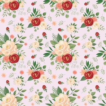 Nahtloses blumenmuster. blumendruck, rosenblütenknospen und rosenvektorhintergrundillustration
