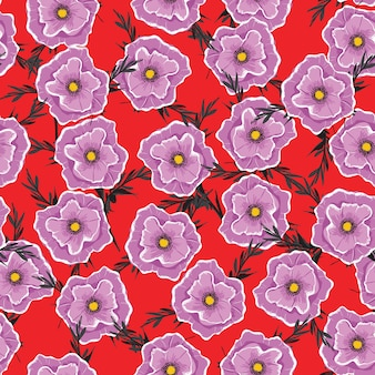 Nahtloses blumenmuster, das lila blumen blüht.