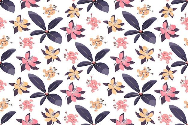 Nahtloses blumenmuster der kunst. aquilegia, akelei blüten, hortensie mit lila blättern.