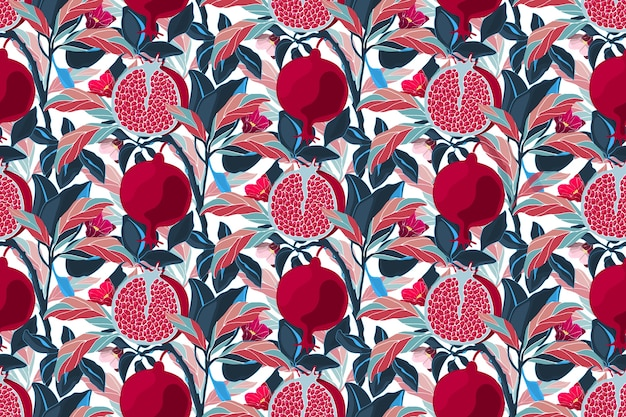 Nahtloses blumenmuster der kunst. granatapfelbaum mit kastanienbraunen früchten, blauen, violetten, orangefarbenen blättern. reife granatäpfel mit körnern und blumen lokalisiert auf einem weißen hintergrund.