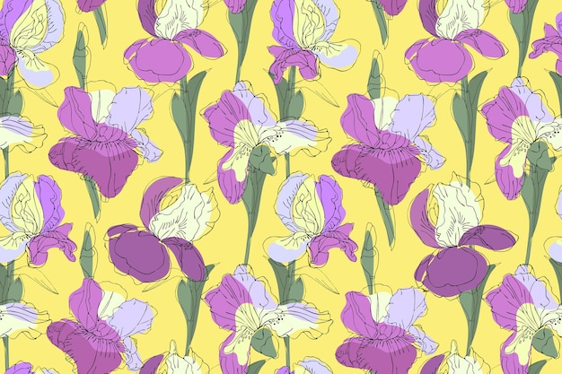 Nahtloses blumenmuster der kunst. lila, violette, hellgelbe iris mit grünen stielen und blättern