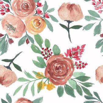 Nahtloses blumenmuster der rose im aquarell