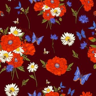 Nahtloses blumenmuster der sommerweinlese mit blühenden roten mohnblumen-kamille-marienkäfer und gänseblümchen-kornblumen-hummelbiene und blauen schmetterlingen.