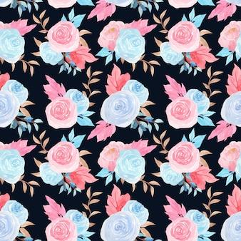Nahtloses blumenmuster des aquarells mit herrlichen blauen rosen