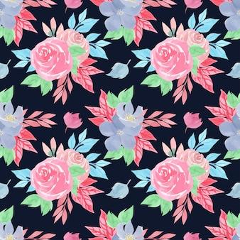 Nahtloses blumenmuster des aquarells mit herrlichen rosa rosen