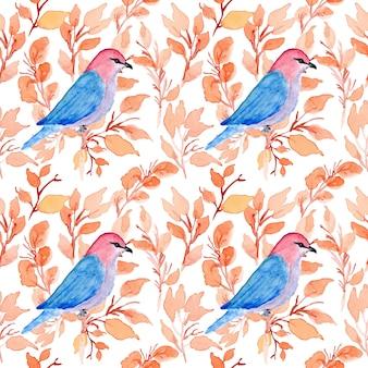 Nahtloses blumenmuster des aquarells mit vogel