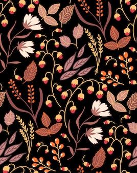 Nahtloses blumenmuster des dunklen herbstes herbstherbstblätter. natursymbolsammlung