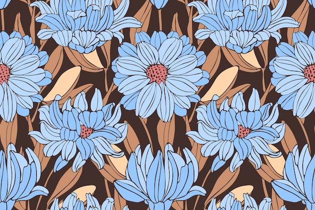 Nahtloses blumenmuster des herbstes. blaue chrysanthemen