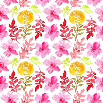 Nahtloses blumenmuster des rosa aquarells Premium Vektoren