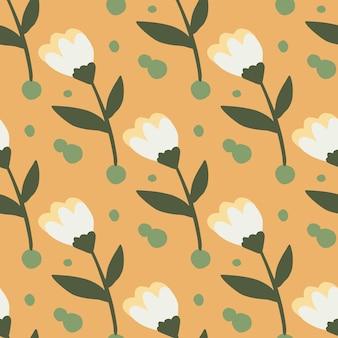 Nahtloses blumenmuster des sommers mit einfachen silhouetten der blume. weiße knospen und braune stängel auf orangefarbenem hintergrund.