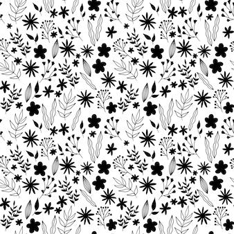 Nahtloses blumenmuster des vektors schwarz und weiß. natur
