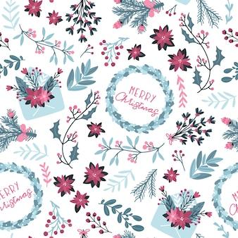 Nahtloses blumenmuster des weihnachtswinters. mit briefumschlag und festlichem kranz mit handgezeichnetem text. die pastellpalette ist ideal zum bedrucken von verpackungen, stoffen und textilien.