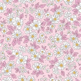 Nahtloses blumenmuster für design kleine pfingstrosen rosa hintergrund liberty stule
