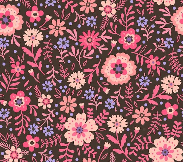 Nahtloses blumenmuster für design. kleine rosa blüten.