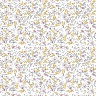 Nahtloses blumenmuster für design kleine weiße blumen weißer hintergrund liberty-stil