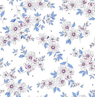 Nahtloses blumenmuster für design kleine weiße blumen weißer hintergrund modernes blumenmuster