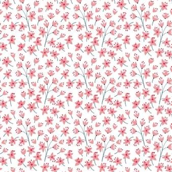 Nahtloses blumenmuster für. kleine rosa blüten. weißer hintergrund. vorlage für modedruck