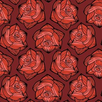 Nahtloses blumenmuster halloween mit rosen.