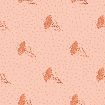 Nahtloses blumenmuster im minimalistischen stil mit gänseblümchen-silhouetten-druck