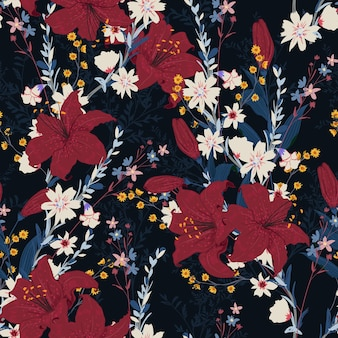 Nahtloses blumenmuster im nachtgarten mit verschiedenen arten der blume, entwurf für mode, stoff, textilien, tapete, verpackung und alle drucke auf dunkelblauer hintergrundfarbe