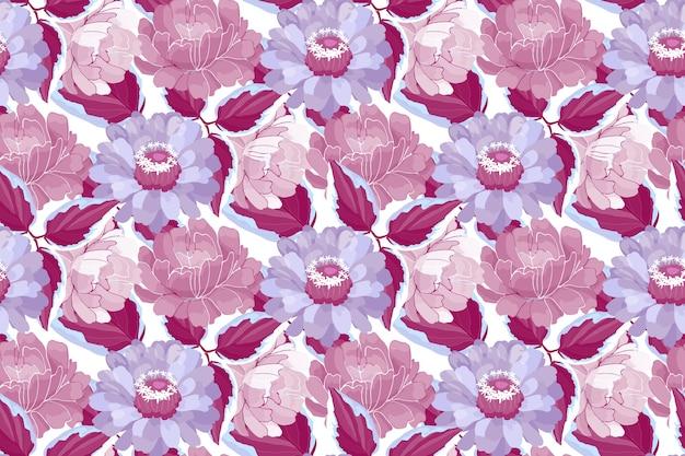 Nahtloses blumenmuster. kastanienbraune, violette, violette, burgunderfarbene gartenblumen und -blätter. schöne pfingstrosen, zinnien.