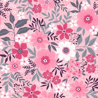 Nahtloses blumenmuster. kleine rosa blüten.