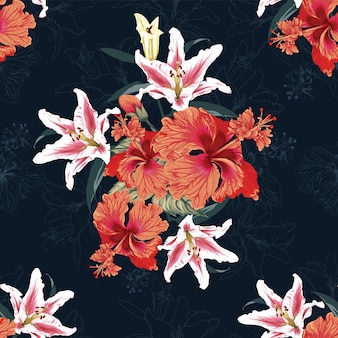 Nahtloses blumenmuster lilly- und hibiskusblüten