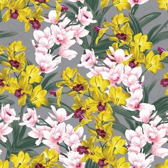 Nahtloses blumenmuster mit abstraktem hintergrund der gelben und rosa orchideenblumen.