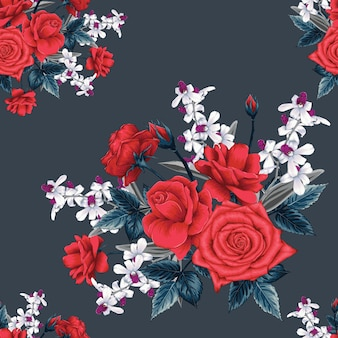 Nahtloses blumenmuster mit abstraktem hintergrund der rosen- und orchideenblumen.