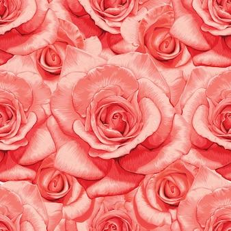 Nahtloses blumenmuster mit abstraktem hintergrund der rosenblumen vintage.