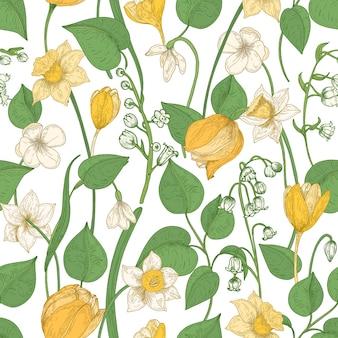 Nahtloses blumenmuster mit blühenden frühlingsblumen und blättern auf weiß