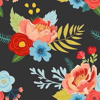 Nahtloses blumenmuster mit blumen, knospen und blättern. botanischer stoffhintergrund für textilien, verpackungen, tapeten. modedruck minimales design. vektor-illustration